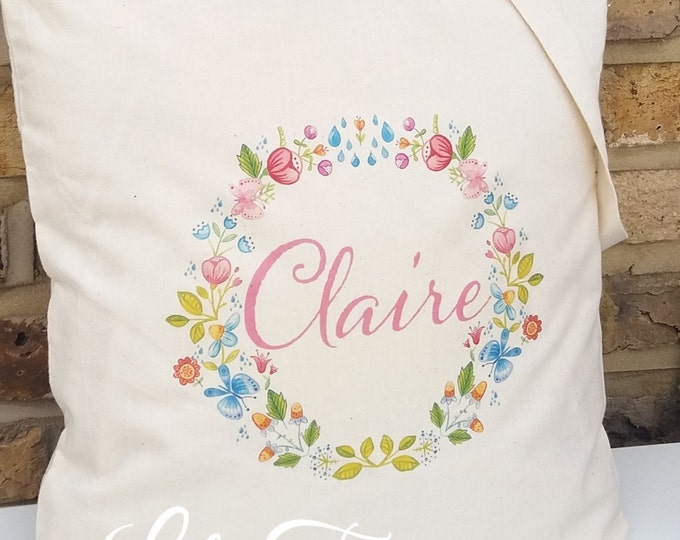 Personalised tote bag |  Any colour font | 100% cotton | Children's gift | Flower design | Wedding gift bags | Bridesmaid | Flower girl tote