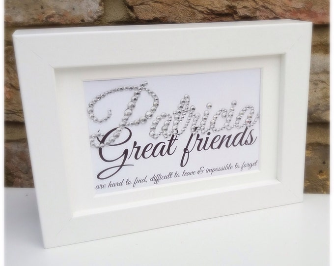 Personalised crystal friendship quote framed print | Sparkle |Custom prints | Friend gifts | Friend quote | Birthday gift | Wall decor.