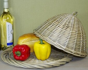 Food dome and platter. Wicker food cover. Cheese dome - JMV27