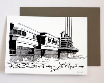Los Angeles card in black and white Pan Pacific AUditorium in Hollywood California souvenir