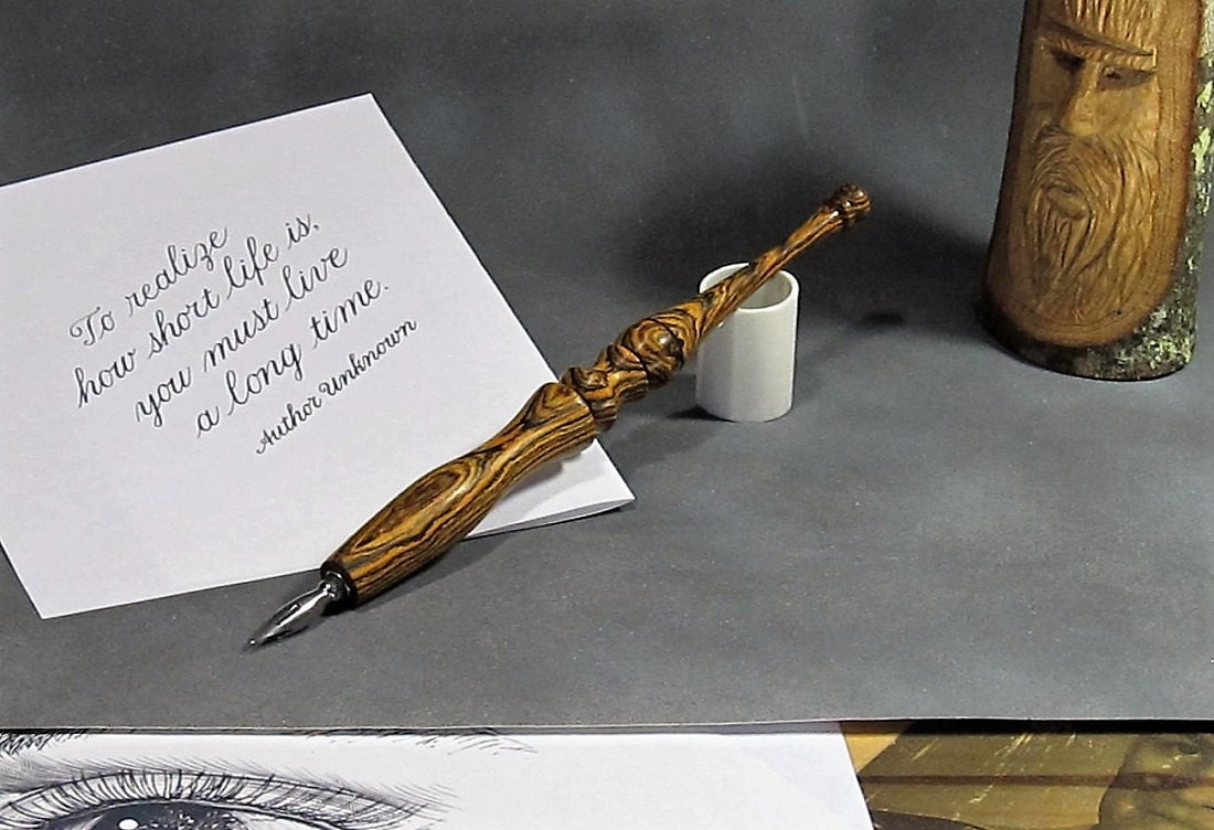 Straight Calligraphy Nib Holder Bocote Wood Ink Pen