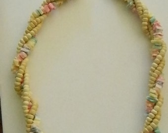 Multi Strand Twisted Wooden Pastel Shell Beaded Necklace