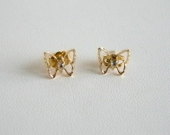 Tiny Gold Tone Finish Butterflies  with Faux Diamond Center Pierced Earrings