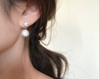Rhinestone double sided earrings, sterling silver, bridesmaids gift, gift for her, sister gift, mom gift, double earrings