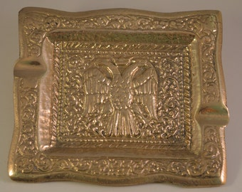 Vintage ashtray two eagles solid brass