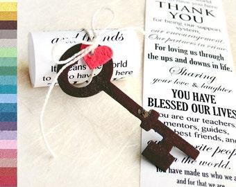 100 Custom Wedding Scrolls - Add plantable paper keys or birds