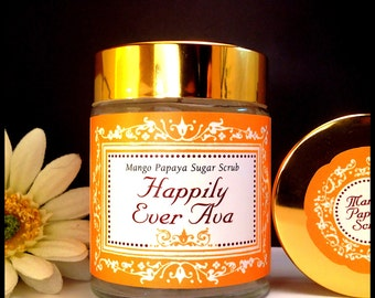 Mango Papaya Sweet Sugar Scrub by Happily Ever Ava, Bath and Beauty, All Natural Skin Care, Vegan Products