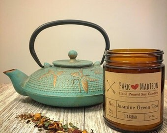 Jasmine Green Tea Soy Candle, Soy Candles Handmade,  Scented Soy Candle, Soy Candles, Tea Scented Candles, Gifts