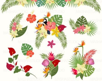 """Tropical clipart: """"Tropical Flowers Clipart"""" with exotic flowers clipart, jungle clipart, tropical leaf, 10 images, 300 dpi. PNG, EPS files"""
