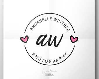 Wedding Photography Watermark. Etsy Shop Heart Logo. Cute Logo Design. PSD Instant Download. DIY Watermark. Scalable Photoshop File. #0364.