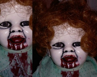 Miss Maggie May. Horror doll, creepy doll, Halloween doll, zombie doll, Crabtree's dolls, gothic doll, bloody doll