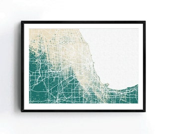 Chicago Street Map Watercolor Art Print, Chicago Street Map Print, Chicago Watercolor Street Map , Chicago Illinois Street Map Print
