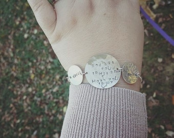 God has you in his arms. I have you in my heart bracelet.