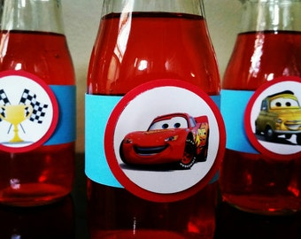 Disney Cars Water Bottle Labels, Disney Cards Bottle Labels, Disney Cars Tableware