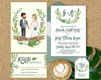 Wedding Invitation Illustrated, Illustrated Couple Wedding Invitation, Wedding Invitation Set, Couple Portrait, Elegant Wedding Invitations