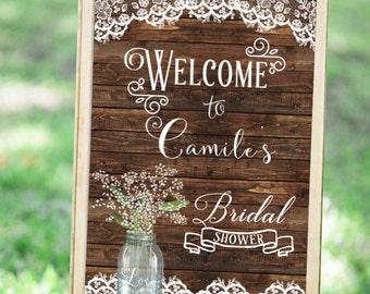 Bridal Shower Sign, Wedding Shower Sign, Welcome Sign Printable, Rustic Welcome Sign, Wood Wedding Sign, Printable Wedding Welcome Sign