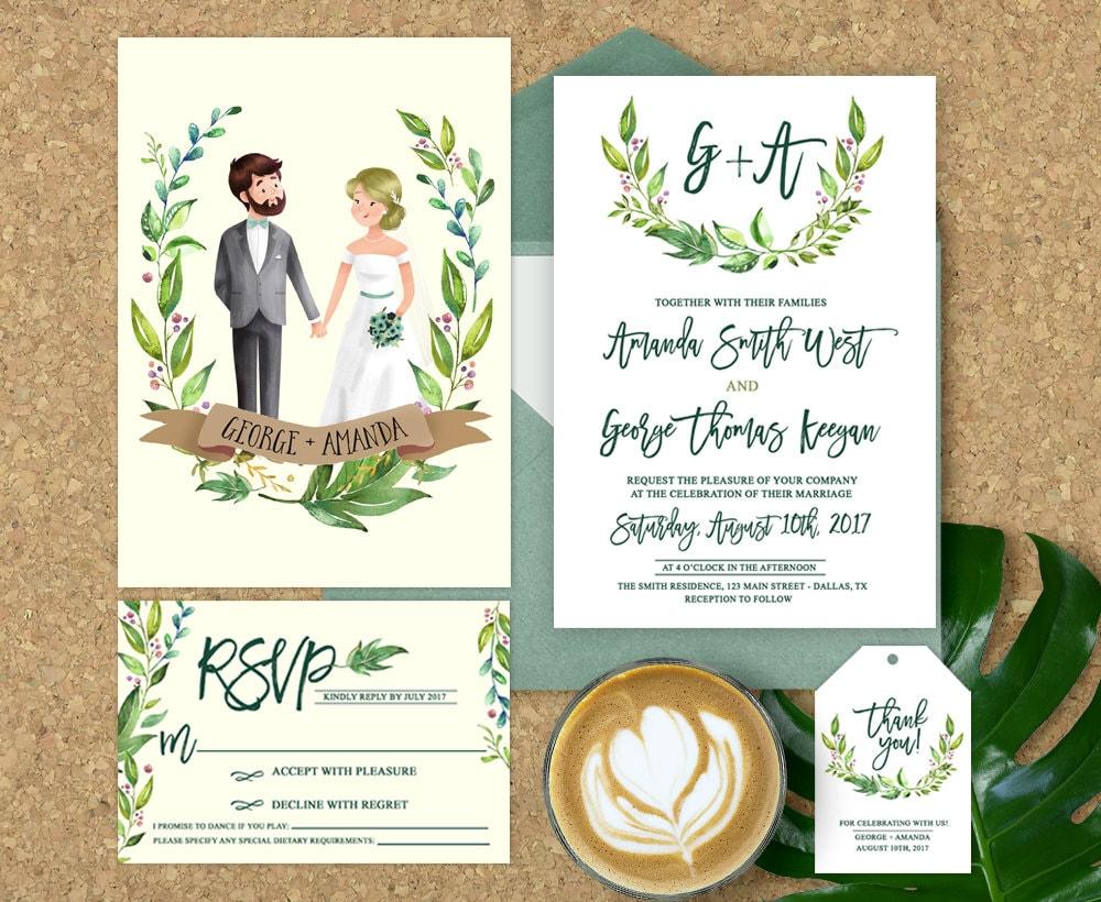 One Page Wedding Invitations: Wedding Invitation Illustrated Illustrated Couple Wedding