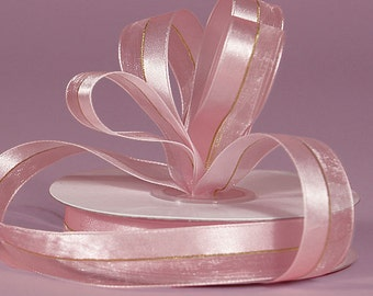 "New  5/8"" Pink Corsage Ribbon, Pink Floral Ribbon with Gold Stripe, 2yds Corsage Ribbon"