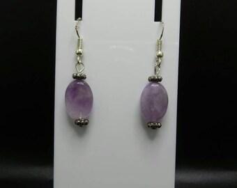 Amethyst Sterling Silver Hook Earrings.