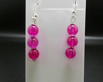 Pink Tourmaline Sterling Silver Hook Earrings.