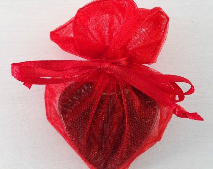 Red Heart Shaped Organza Favor Bag, Soap Favor Bag, Organza Favor Bag, Drawstring Bag, Organza Bag, 4x3 Heart Organza Bag, Wedding Favor Bag
