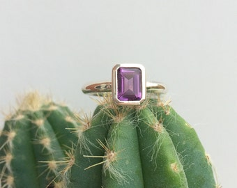 Handmade Silver & Emerald Cut Amethyst Ring - Contemporary Ring - Unique Ring - Handmade Ring - Statement Ring
