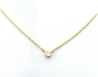 Solitaire necklace gold plated 750/000 & zirconium oxide - adjustable size - solitary Necklace 750 yellow gold plated