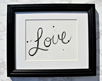 Typography Love Watercolour Black and White Painting Gallery Wall Art
