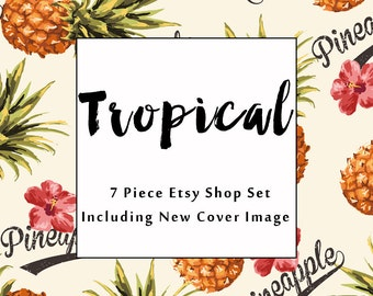 Etsy shop banner set Tropical pineapple new size cover photo modern watercolor graphics