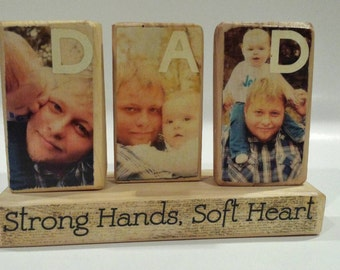"""Free Shipping! DAD Photo Blocks """"Strong Hands, Soft Heart"""""""