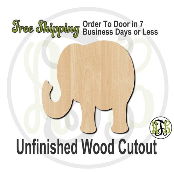 Elephant 1 - 230003- Cutout, unfinished, wood cutout, wood craft, laser cut shape, wood cut out, Door Hanger, wooden, wreath accent