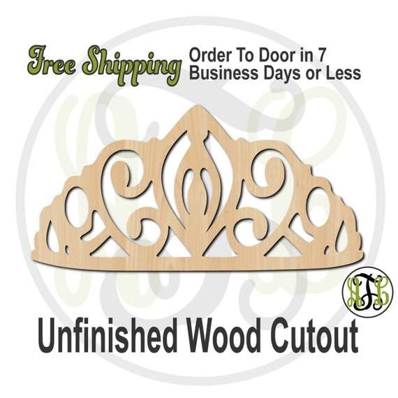 Crown 11 - 24411- Cutout, unfinished, wood cutout, wood craft, laser cut shape, wood cut out, Door Hanger, wooden, ready to paint