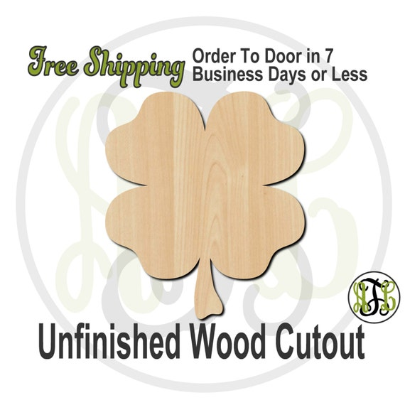 4 Leaf Clover - 120001- Shamrock Cutout, unfinished, wood cutout, wood craft, laser cut shape, wood cut out, Door Hanger, wooden, wall art