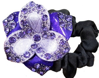 New Purple Violet Lacquer Floral  With  Amethyst Crystal 3'' Ponytail Tie
