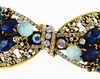 New Antique Gold Multi Color Sapphire Crystal & Rhinestone Bow Hair 3 1/2'' Barrette