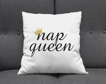 Nap Queen Throw Pillow, Nap Queen Pillow, Custom Throw Pillow, Nap Pillow, Novelty Pillow, Home Decor, Nap Queen, Funny Throw Pillows