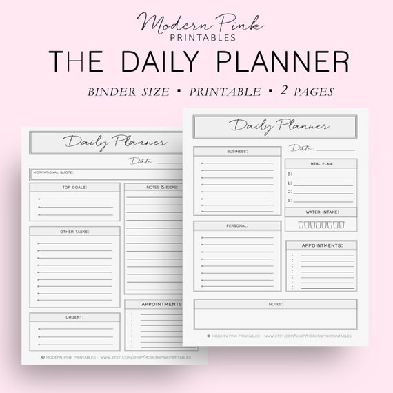 Binder Size Business And Personal Daily Planners Daily
