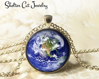 """Earth Necklace - 1-1/4"""" Circle Pendant or Key Ring - Wearable Art Photo - Celestial, Galaxy, Solar System, Space, Universe, Planet, Gift"""