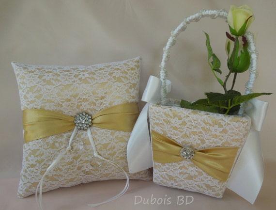Wedding Ring Bearer Pillow And Flower Girl Basket 2 Pcs Set Gold Ring