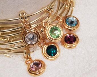 Birthstone Bracelet, Personalized Birthstone Bangle, Stackable Bangle, Birthstone, Family Bracelet, Girlfriend Gift [901]