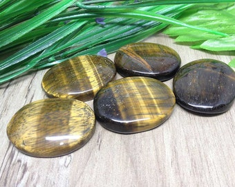 Set of 5 Tiger Eye Worry Stones for reiki healing, Oval Worry Stones chakra balancing, crystal grid, Tiger Eye Palm Stones
