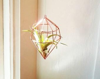 Hanging geometric air plant holder, set of geometric planters, copper, silver, diamond geometric