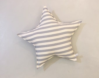 Cushion star, starpillow, gray and white striped cushion