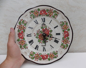 Vintage Plate Clock / Wall clock / Working Clock / Old Clock / Kitchen Decor / Home Decor / Flowers Clock / Plate Flowers Clock