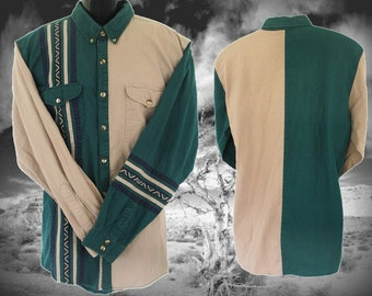 Spindle River Vintage Western Men's Shirt, Green and Tan, Size XL