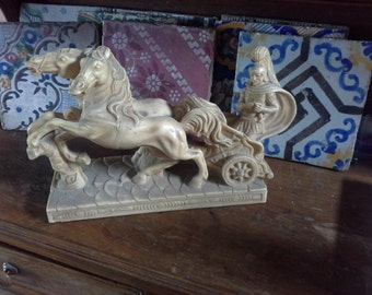 Vintage Roman Soldier Statue of Marble Dust, Roman Chariot