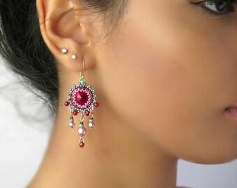 Crystal chandelier earrings, Crystal dangle earrings, Statement earrings, Earrings for women, Colorful earrings, Boho chandelier earrings