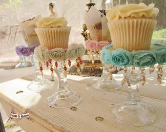 Cupcake stands, mini cupcake stand,  dessert stands, shabby chic party, photo prop, wedding shower, baby shower, gift, favor