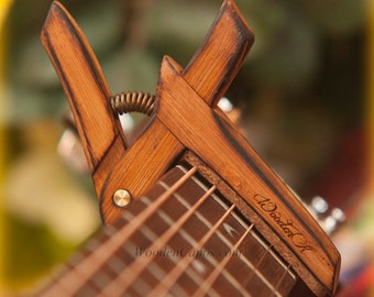 Flamed Bamboo ~ Wooden Guitar Capo ~ Adjustable Tension ~ WoodenK ~ (Acoustic, Electric, Classical, Banjo & Ukulele)
