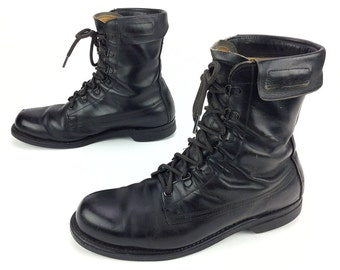 Men's Vintage Black Leather Lace up Military Combat Tactical Jump Field Boots Sz. 10